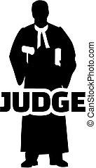 juiz, trabalho, silueta, título