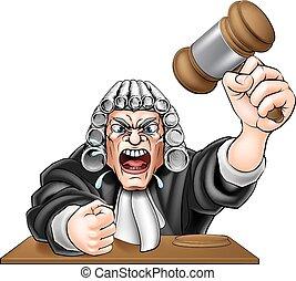 juiz, zangado, caricatura