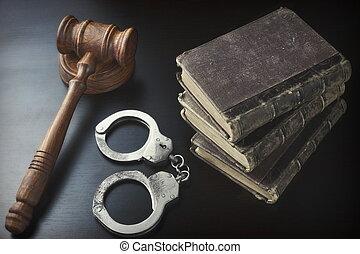 juizes, antigas, algemas, livro, pretas, tabela, gavel