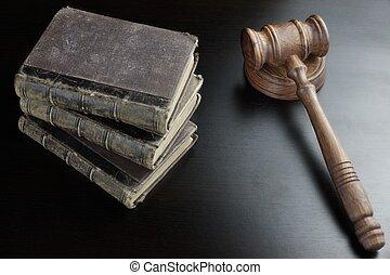juizes, antigas, madeira, livro, pretas, gavel, tabela