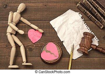 juizes, conceito, divórcio, court., livro, gavel, lei, gavel