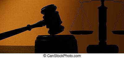 juizes, corte, gavel, silueta, e, escalas justiça