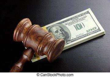 juizes, gavel, e, dólar, dinheiro, ligado, a, pretas, tabela