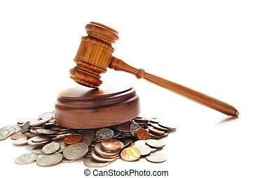 juizes, lei, gavel, ligado, um, pilha, de, moedas, sobre, branca
