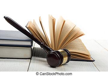 juizes, madeira, livro, sala audiências,  Gavel, tabela, lei, abertos
