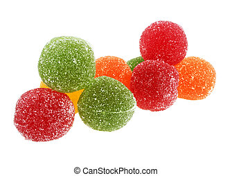 Jujube colored balls, isolated on a white background