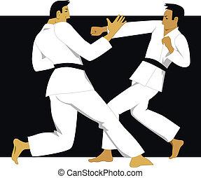 Two men practicing jujutsu or jujitsu in white judogi uniform, vector illustration
