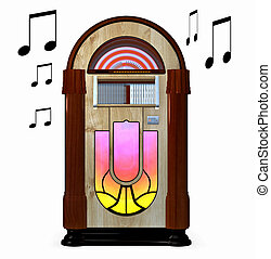 Juke box - A music juke box isolated on white background