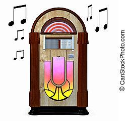 Juke box - A music juke box isolated on white background