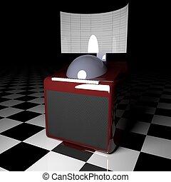 Juke box over white and black floor, 3d rendering