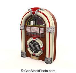 Juke Box Radio Isolated on white background. 3D render