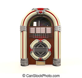Juke Box Radio Isolated on white background. 3D render