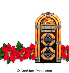Juke box radio with Red Poinsettia flower christmas ornament