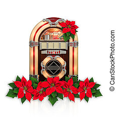 Juke box radio with Red Poinsettia flower christmas ornament