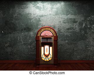 jukebox, antigas, parede, concreto