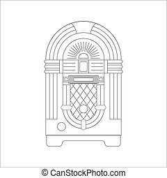 Jukebox Flat Icon - Jukebox icon vector. Flat icon isolated...