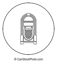 Jukebox Juke box automated retro music concept vintage playing device icon in circle round outline black color vector illustration flat style image