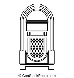 Jukebox Juke box automated retro music concept vintage playing device icon outline black color vector illustration flat style image