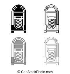 Jukebox Juke box automated retro music concept vintage playing device icon outline set black grey color vector illustration flat style image