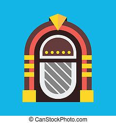 jukebox, vetorial, retro, ícone
