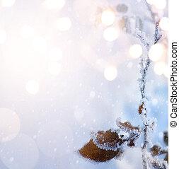 jul, background;, blå, vinter, jul, landscape;, vinter, bygd