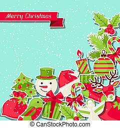 jul, baggrund, card., merry, invitation
