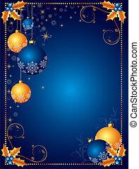 jul, baggrund, eller, card