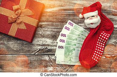 jul, bakgrund., effect., lätt, topp, artikeln, gåva, trä, pengar, utsikt., jul