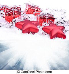 jul, bakgrund, med, gåvor, och, stjärnor