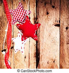 jul, bakgrund, med, hangind, röd, stjärnor, över, trä, wall., ho