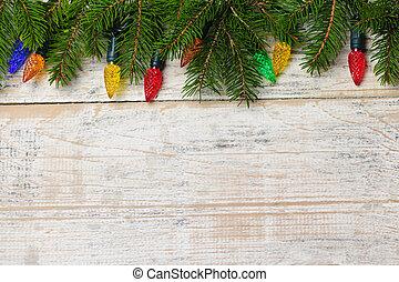 jul, bakgrund, med, lyse, på, grenverk
