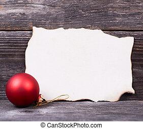 jul, bakgrund, med, röd, struntsak, och, tom, papper