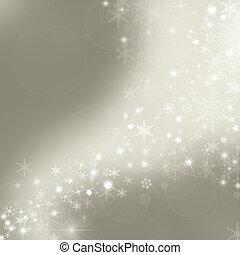 jul, bakgrund, med, snöflingor, in, vinter