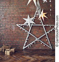 jul, bakgrund, med, stjärnor, och, presenterar