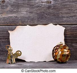 jul, bakgrund, med, tom, årgång, papper, och, gyllene, agremanger