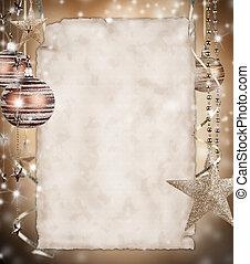 jul, bakgrund, med, tom, papper