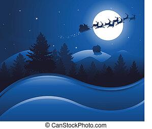jul, bakgrund, natt