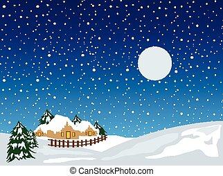jul, bakgrund, snö