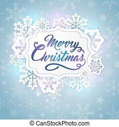 jul, baner, med, snöflingor
