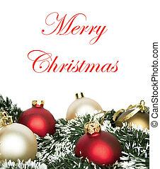 jul, begrepp, med, färgrik, agremanger, isolerat, vita, bakgrund