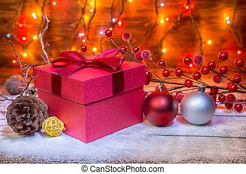 jul, begrepp, med, röd, gåvan boxas, kon, klumpa ihop sig, girland, och, festlig, dekoration, över, trä, bakgrund, tillsluta