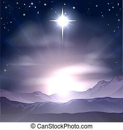 jul, bethlehem, nativit, stjärna