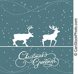 jul, blå, hälsningskort, med, d