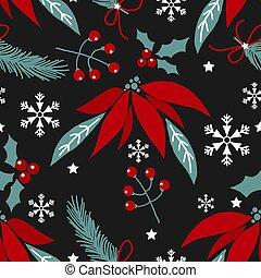 jul, blomster, seamless, julestjerne, pattern.