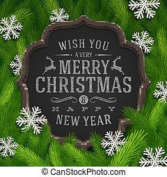 jul, chalkboard, hälsning