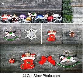 jul, collage, med, vacker, dekorativ, agremanger