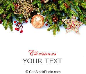 jul, decoration., dekorationer ferie, isoleret, på hvide,...