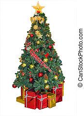 jul, dekorerat, träd, och, gåvor, filial, röd, klumpa ihop sig, och, bär, vita, bakgrund, isolated.