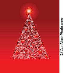 jul, dekorerat, träd
