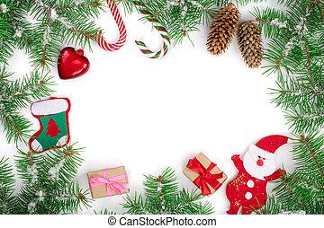 jul, din, ram, text, dekorerat, vit, avskrift, bakgrund, isolerat, utrymme